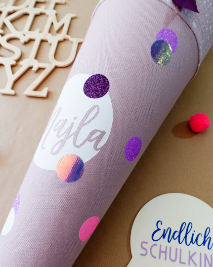 LILA Special Edition Konfetti Schultüte aus