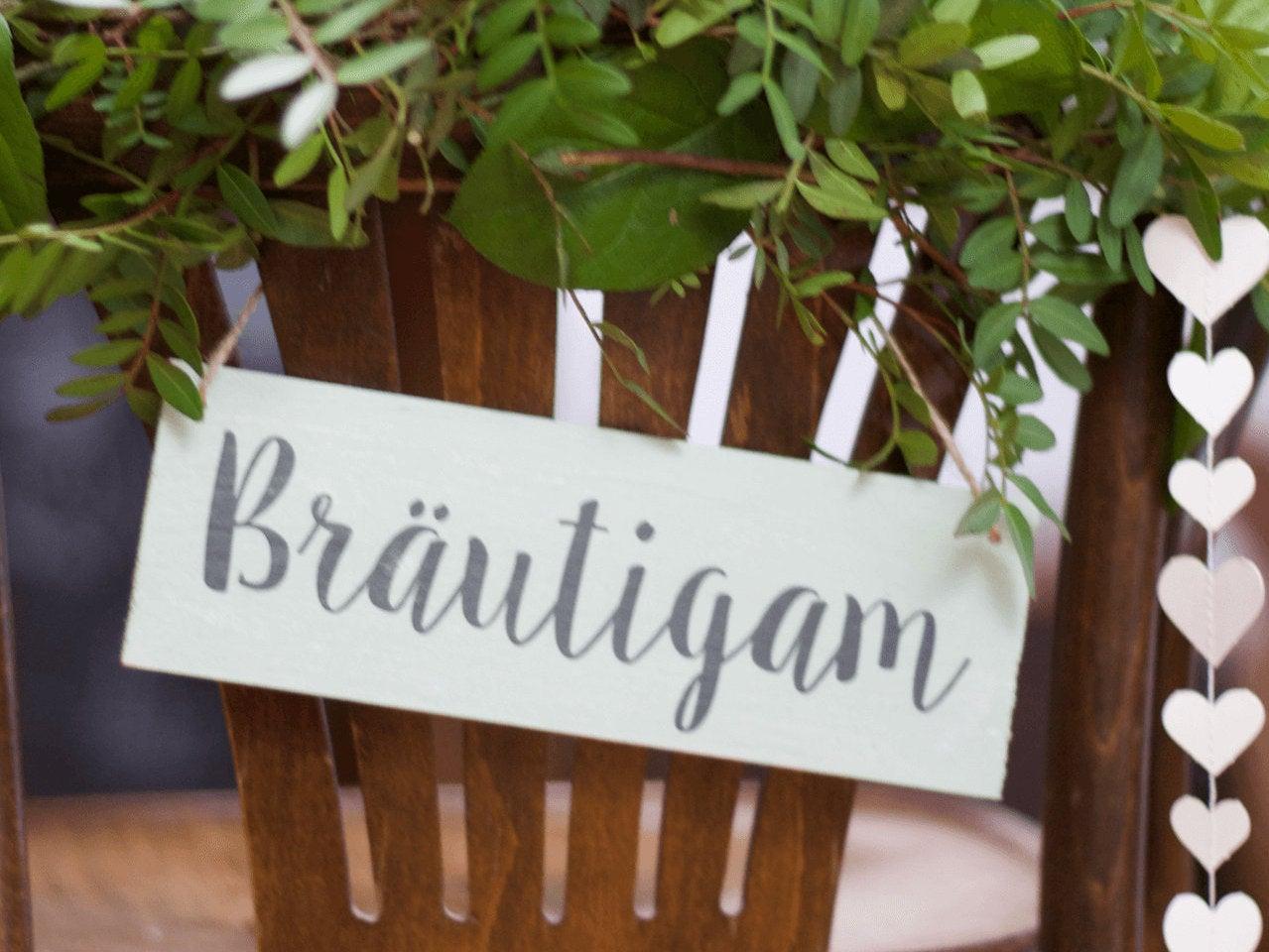 Stuhldeko Hochzeit aus Holz für Brautpaar-Stühle