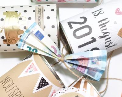 Hochzeitsdosen als Geldgeschenk - indv gestaltet