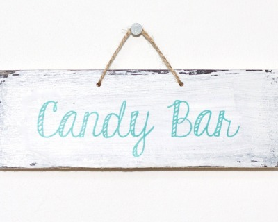 Candy Bar vintage Holzschild mint weiß