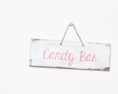Candy Bar vintage Holzschild rosa weiß