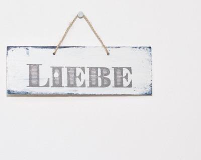 LIEBE vintage Holzschild dunkelblau weiß sofort