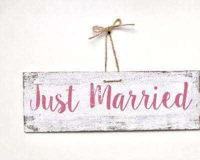Just Married- vintage Holzschild pink weiß