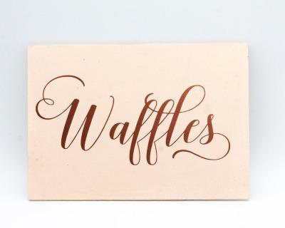 Waffle Bar Holzschild versch Farben wählbar