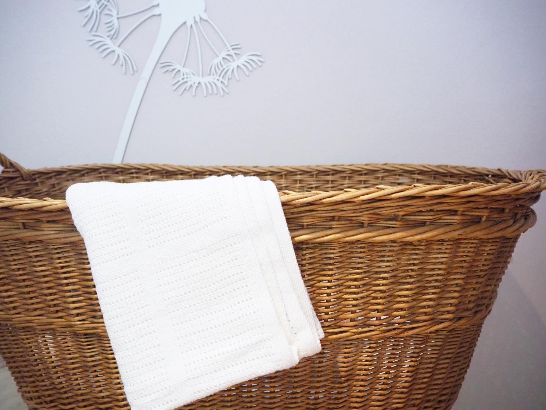 Baumwolle Strickdecke weiß von lulujo 5
