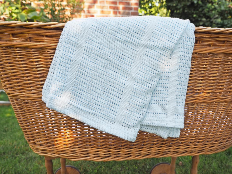 Baumwolle Strickdecke hellblau von lulujo 5