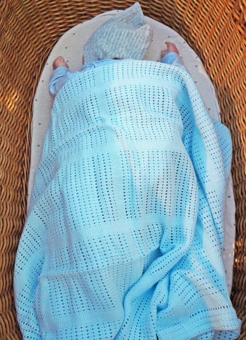 Baumwolle Strickdecke hellblau von lulujo 9