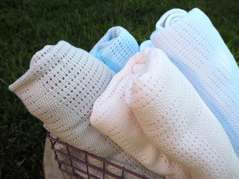 Baumwolle Strickdecke weiß von lulujo 7