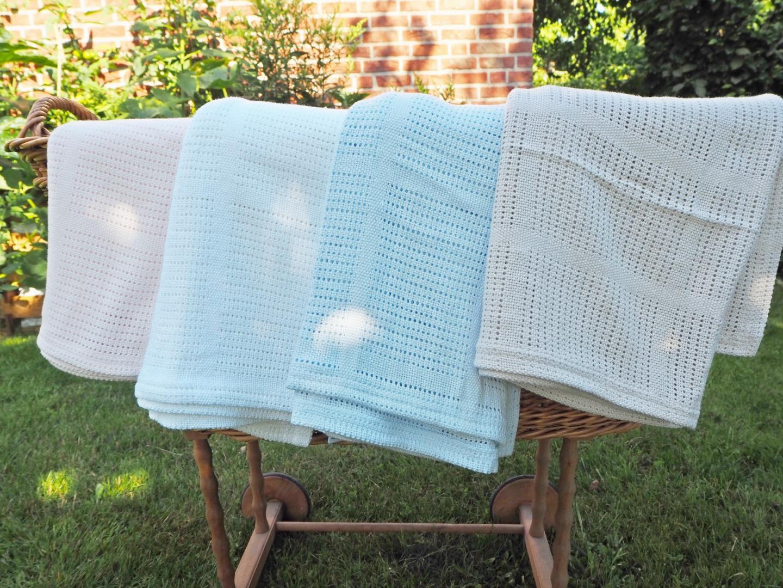 Baumwolle Strickdecke hellblau von lulujo 6
