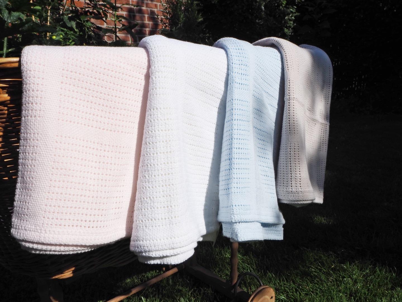Baumwolle Strickdecke weiß von lulujo 8