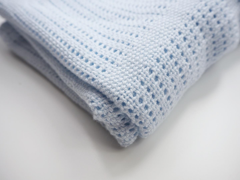 Baumwolle Strickdecke hellblau von lulujo 2
