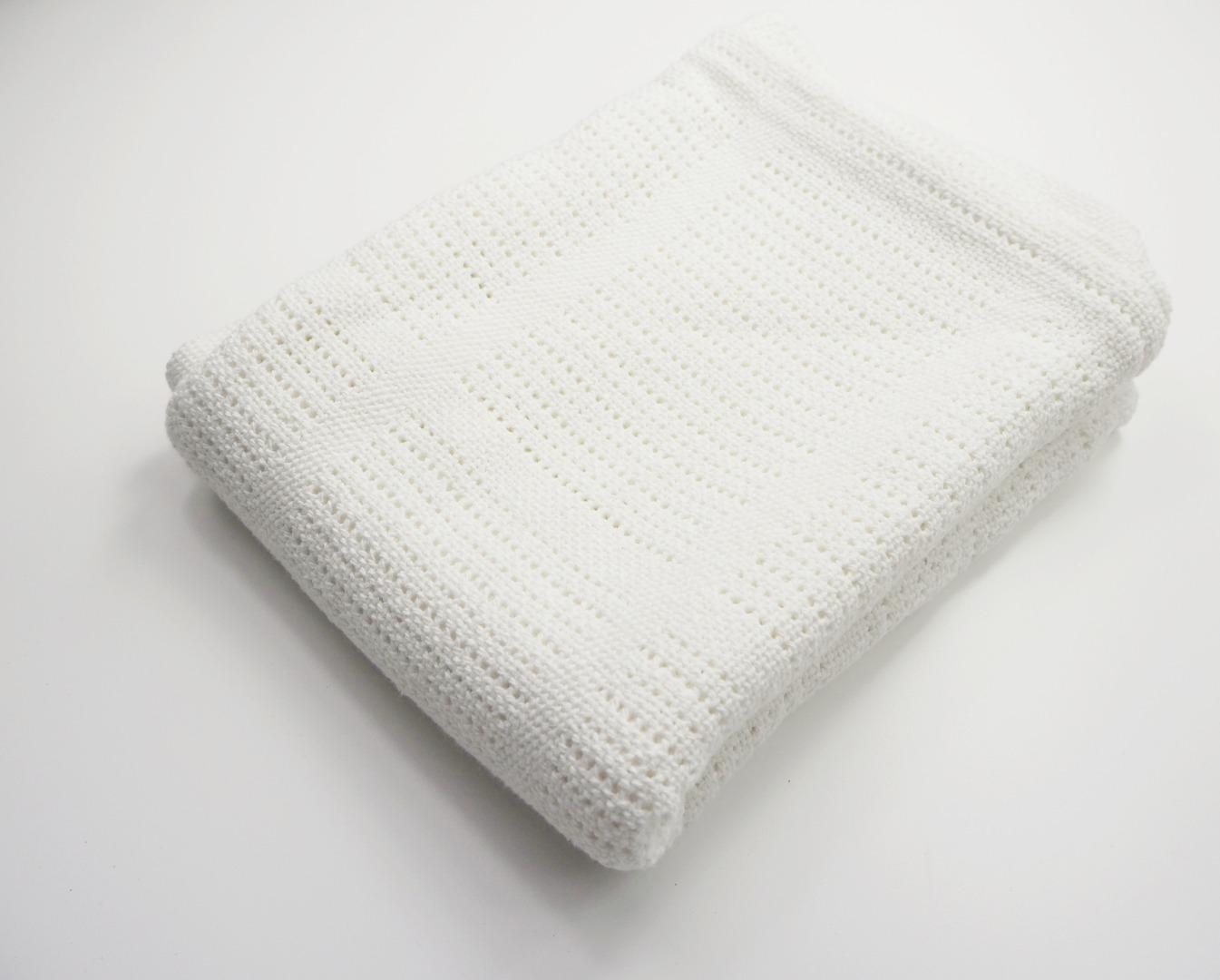 Baumwolle Strickdecke weiß von lulujo