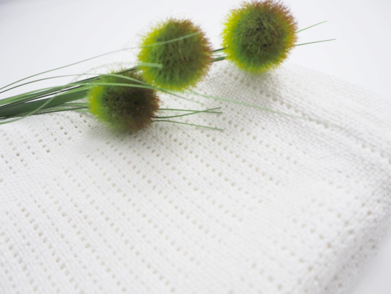 Baumwolle Strickdecke weiß von lulujo 2