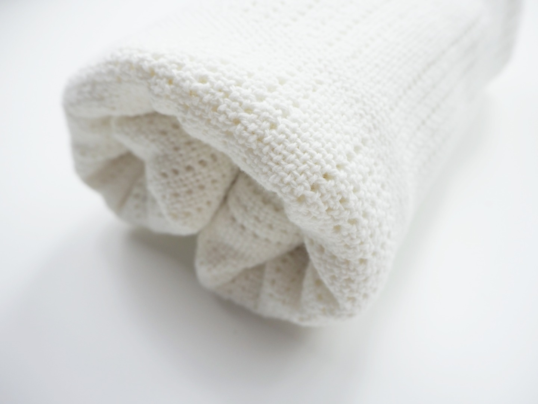 Baumwolle Strickdecke weiß von lulujo 4