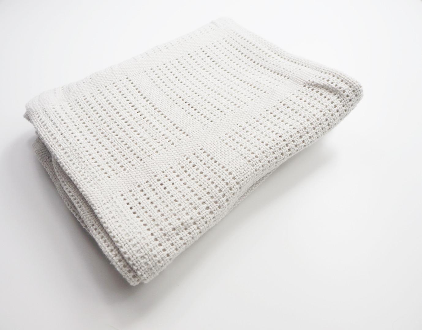 Baumwolle Strickdecke grau von lulujo