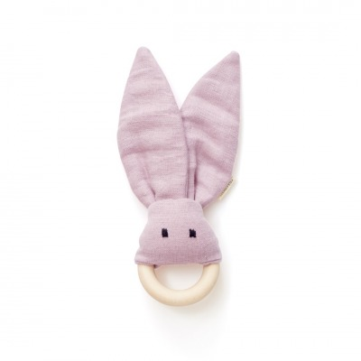 Beissring Hase Leinen rosa Kids Concept