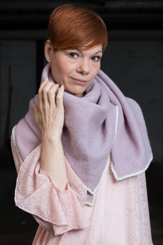 Frauen Pullover Hochzeit cape Lila Strick