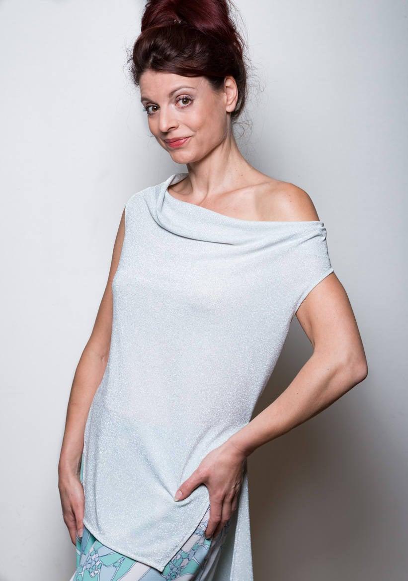 Extravagante Bluse Weiß/Silber