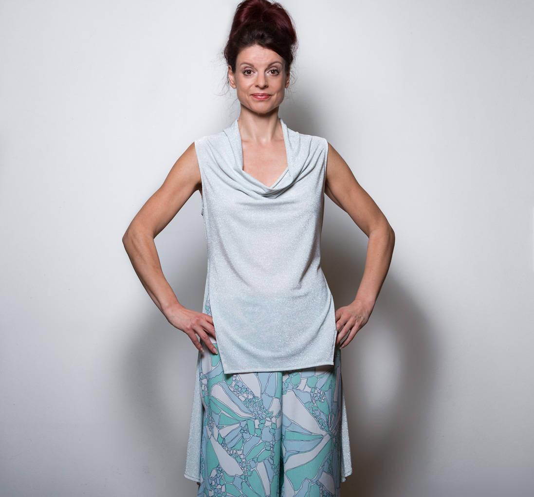 Extravagante Bluse Silber Asymmetrische Tunika Top