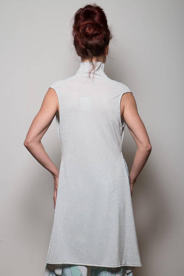 Extravagante Bluse Weiß/Silber 4