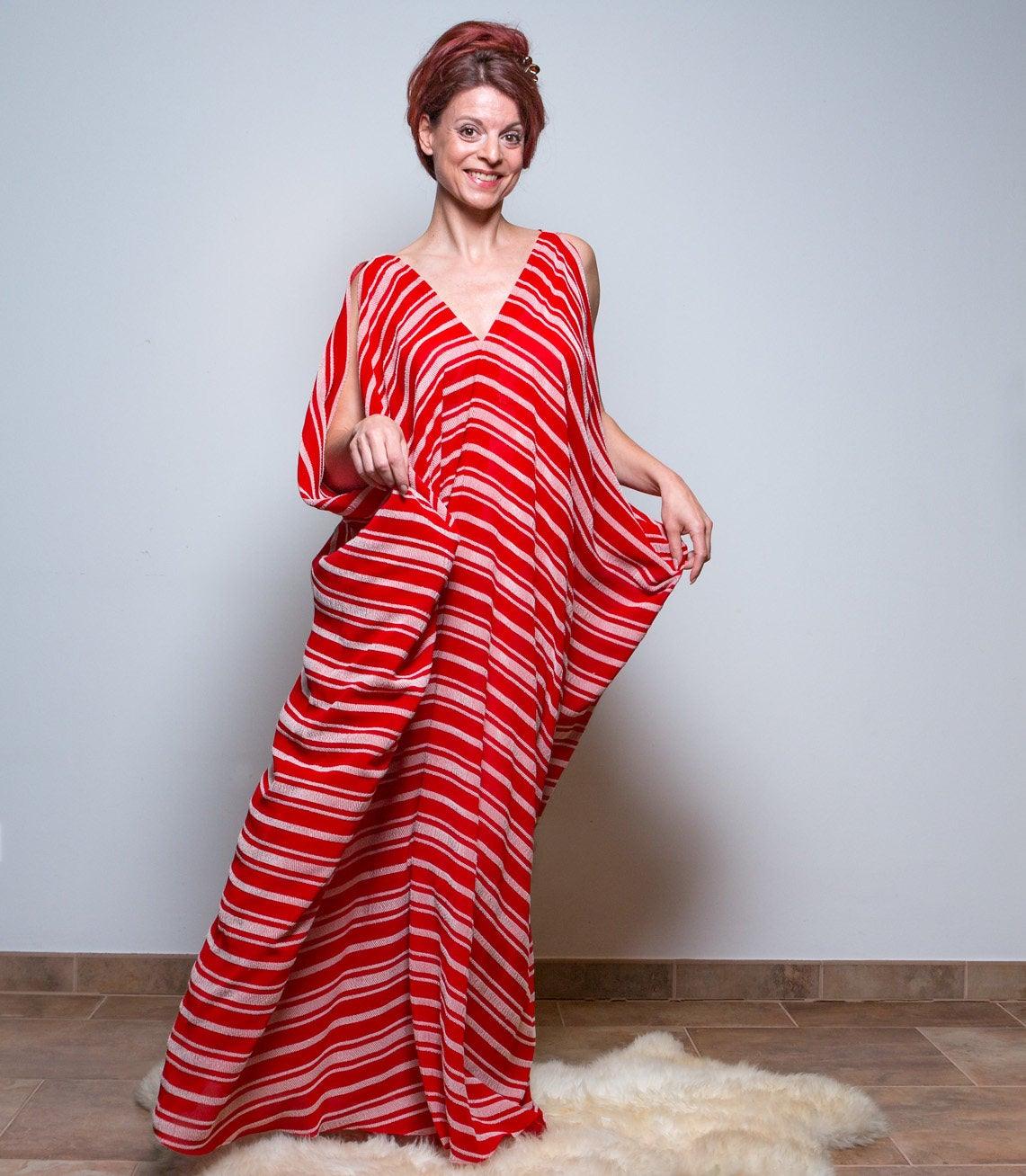 Rote Kimono Kleid Boho kleid Gestreifte
