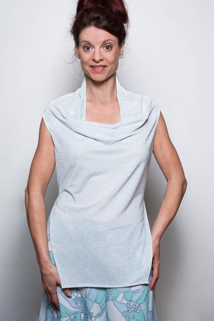 Extravagante Bluse Weiß/Silber 7