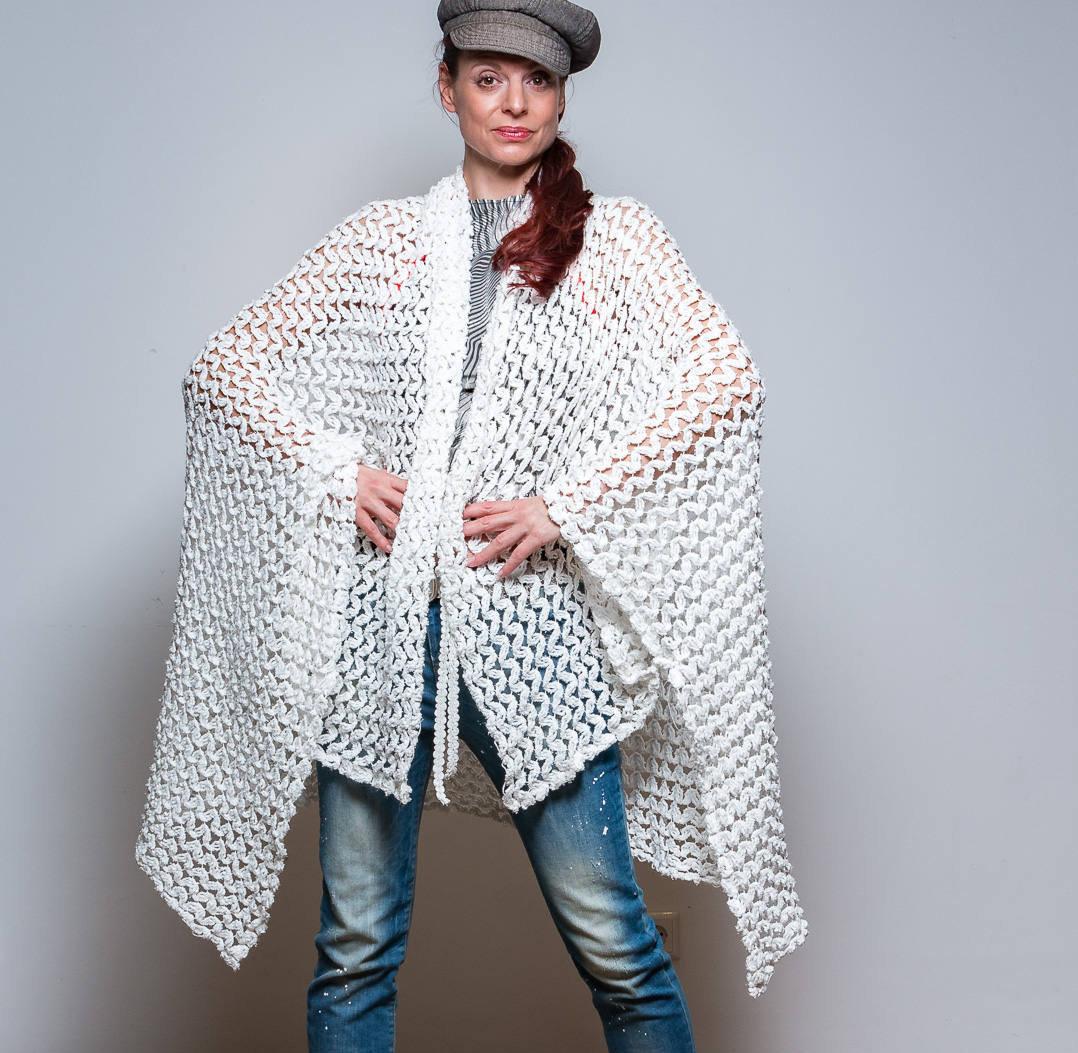 ROTETULPE Strickjacke Weiß Cardigan 4
