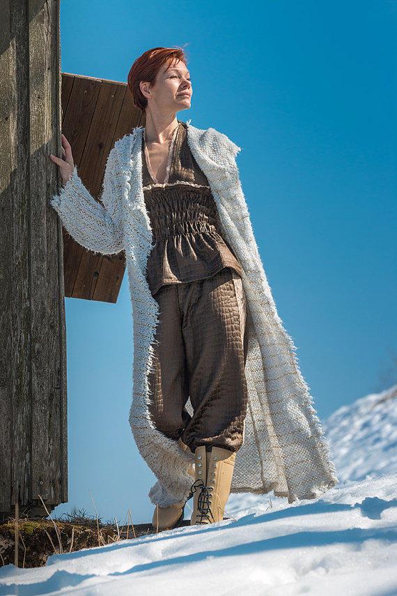 Weiße Strickmantel Josie Sommerjacke 2