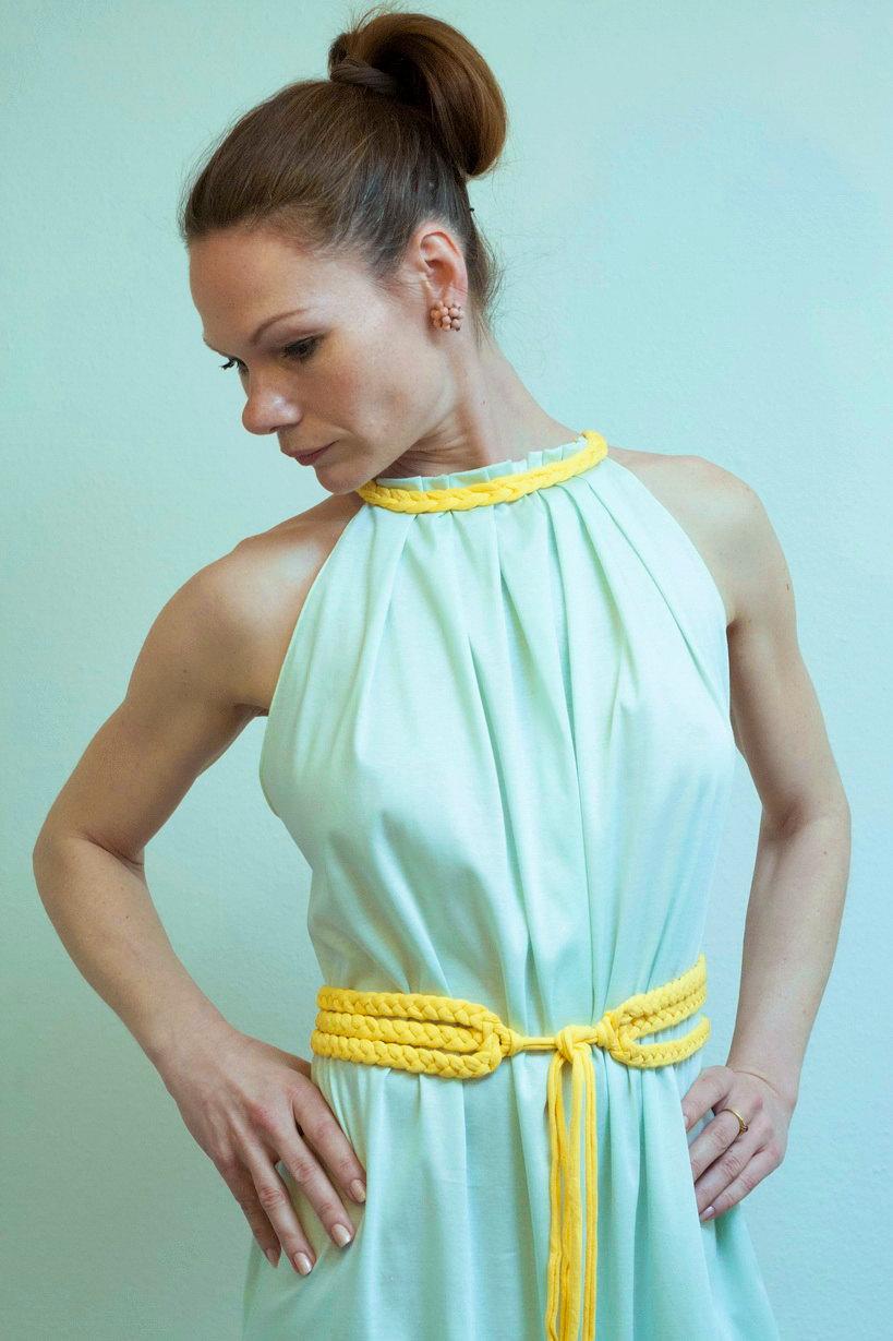 Kleid mit Gelbe Gürtel Tunika Kleid