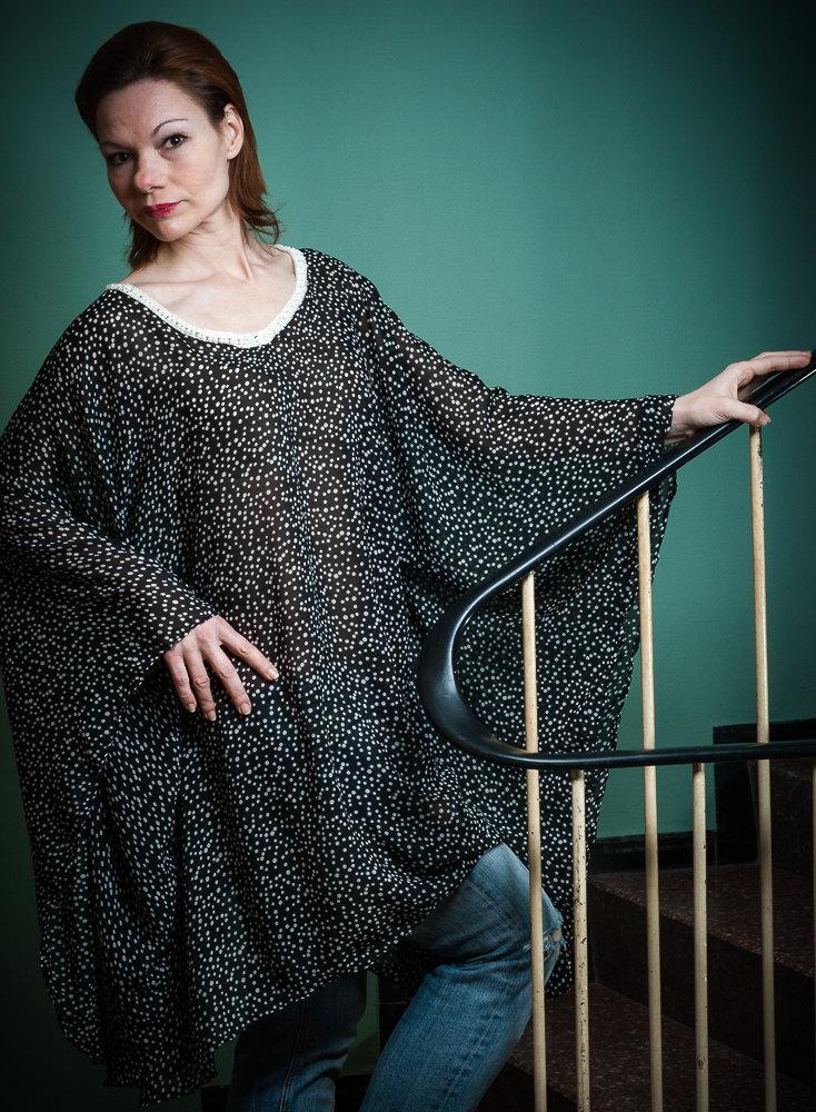Seidenkleid mit Perlenborte Boho Kleid Oversized
