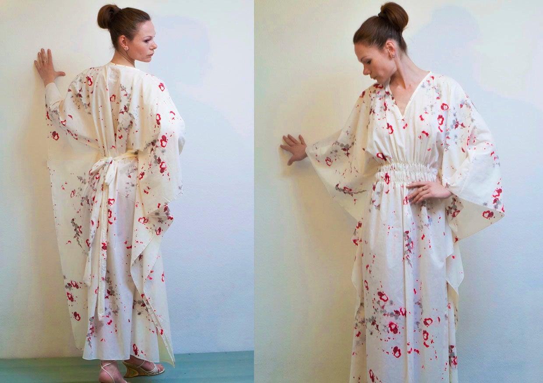 Kleid Kaftan Seidenkleid Weiße Sommerkleid Oversized