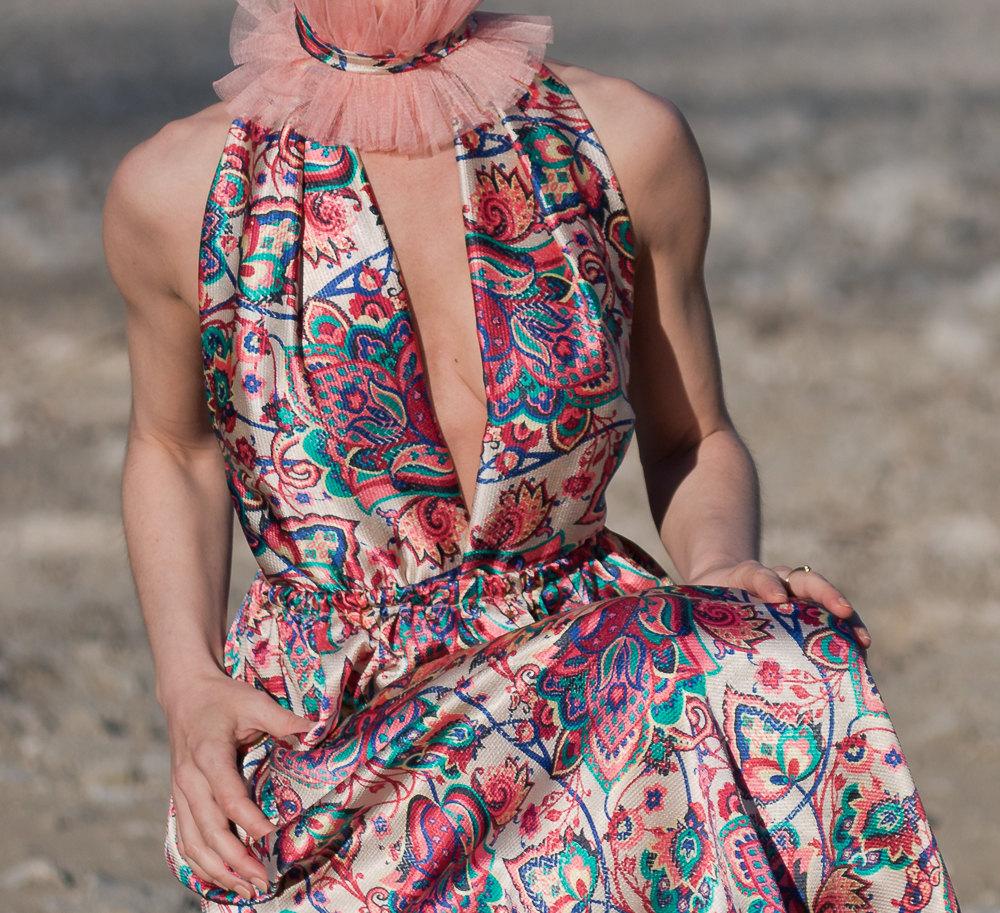 Boho Kleid Neckholder Kleid Satin kleid