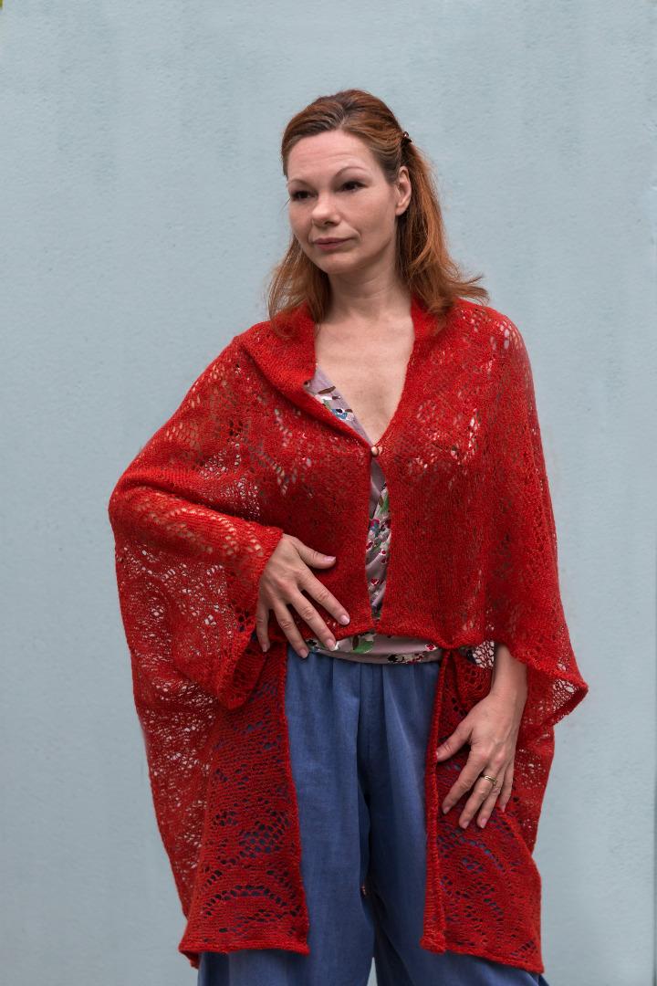 Rote Strickjacke Sommer Jacke 2