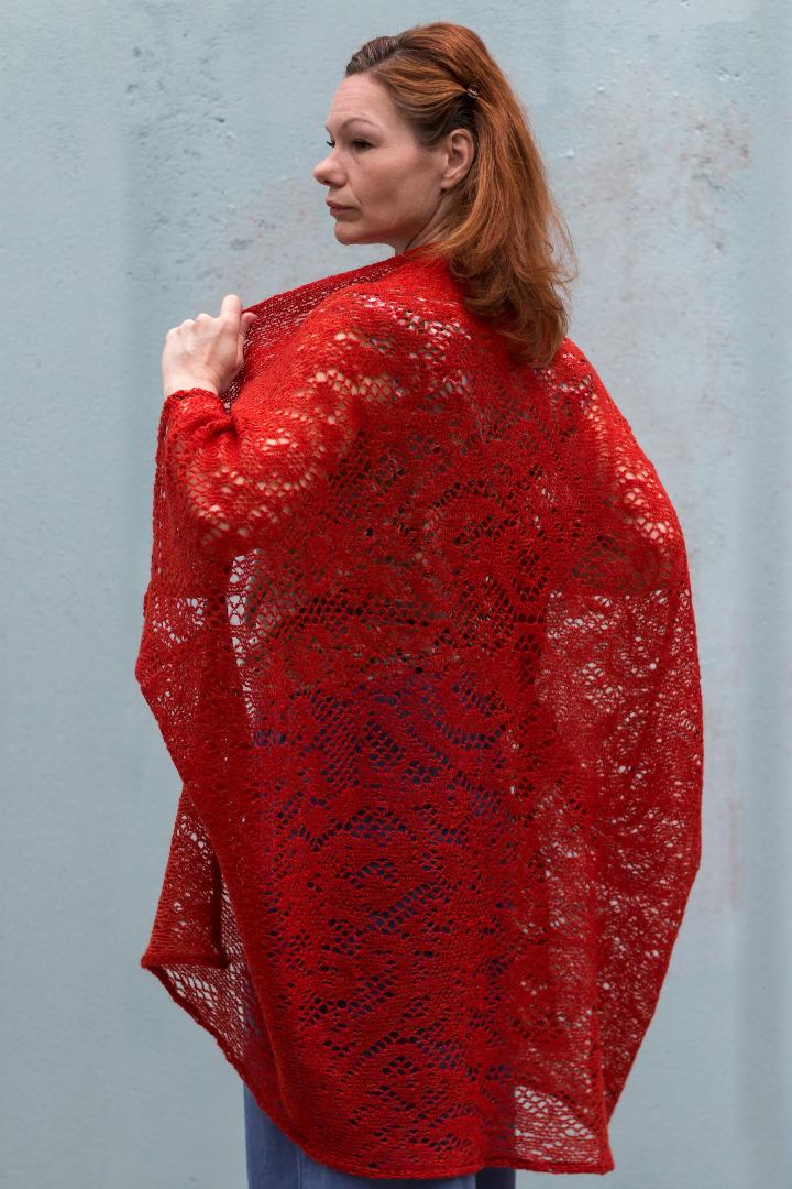 Rote Strickjacke Sommer Jacke Cape Jacke