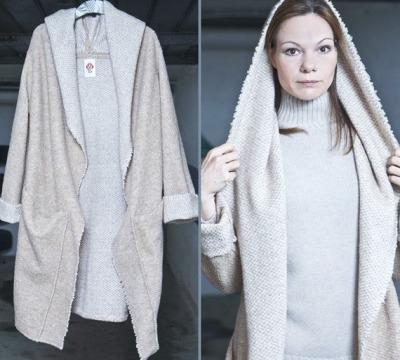 ROTETULPE Strickjacke mit Kapuze Beige-Graue Mantel