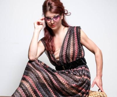Maxi Kleid aus Spitze - Gestreift