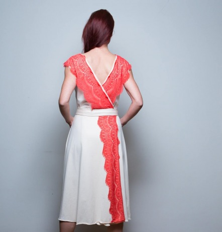 Kleid Jolie Wickelkleid Jersey Beige mit