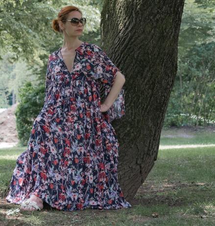Kleid mit Kimonoärmeln Maxikleid Sommerkleid Blau