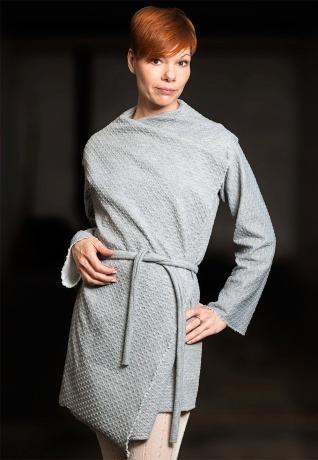 Graue Cardigan Asymmetrische Strickjacke Strickjacke Kimono