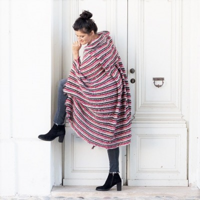 ROTETULPE Lange Strickjacke Strick Cape Wolle