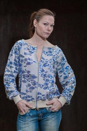 Jacke mit Pailletten in Blau/ Silber