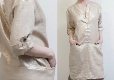 Leinenkleid Goldy - Sommerkleid in Gold