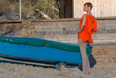 Sommerbluse Blusen-top Modern in Orange ROTETULPE