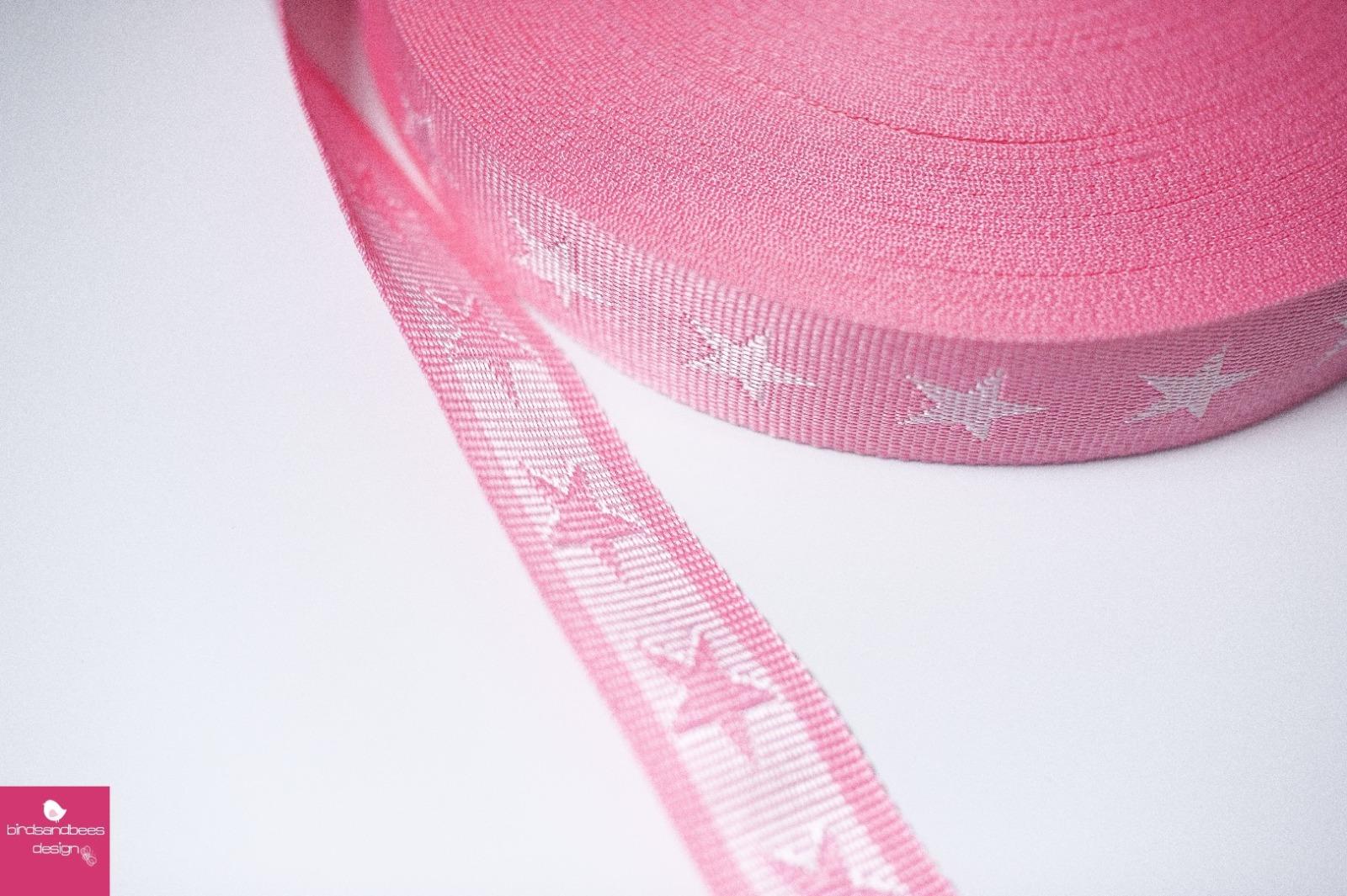Gurtband Stern 1m 40mm Rosa Weiß
