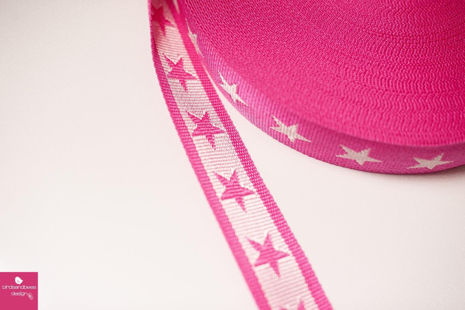 Gurtband Stern 1m 40mm Pink Weiß