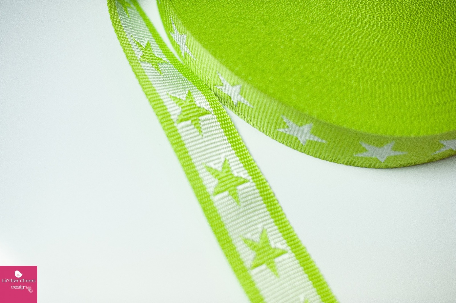 Gurtband Stern 1m 40mm Hellgrün Weiß