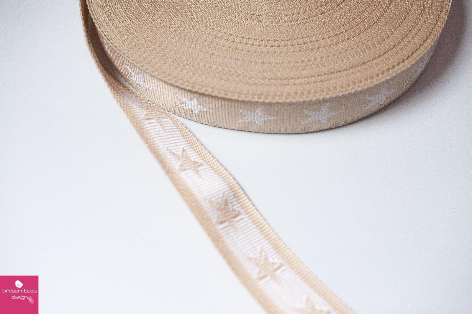 Gurtband Stern 1m 40mm Beige Weiß