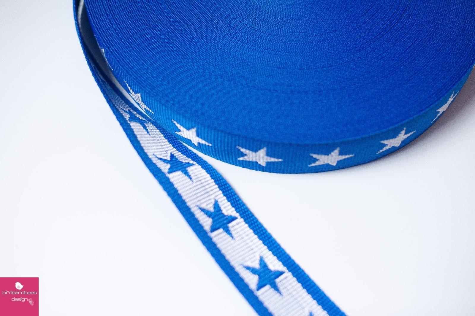 Gurtband Stern 1m 40mm Royalblau- Weiß