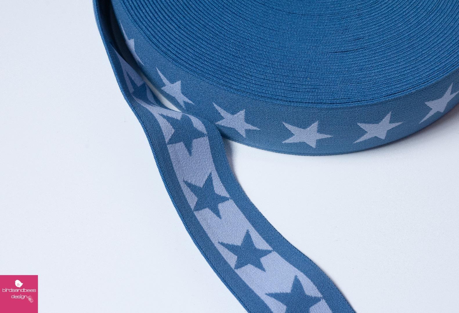 Gummiband Stern 1m 40mm Blau Hellblau