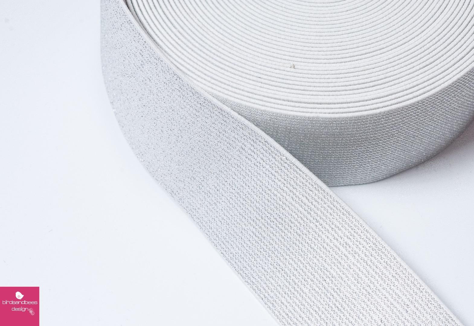 Gummiband Glitzer 1m 50mm Natur Silber